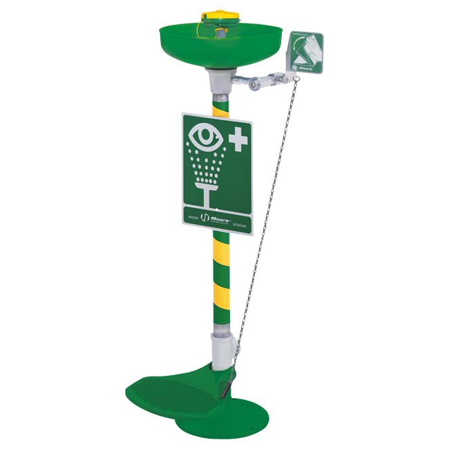 7261 Axion / HAWS fee standing eye / face wash emergency station with push pedal. From PNR UK Ltd