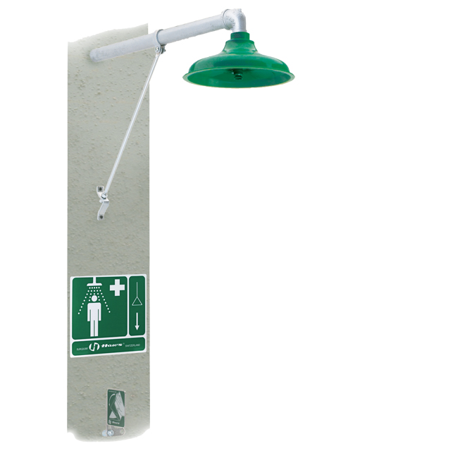 8111FP Axion / Haws freeze proof / frost resistant safety emergency drench shower. Horizontal mount. PNR UK Ltd.
