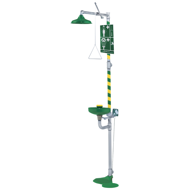 8320 Axion / HAWS emergency combination safety or drench shower for body and eye / face wash. Pull chain, hand lever and foot pedal. PNR UK Ltd.