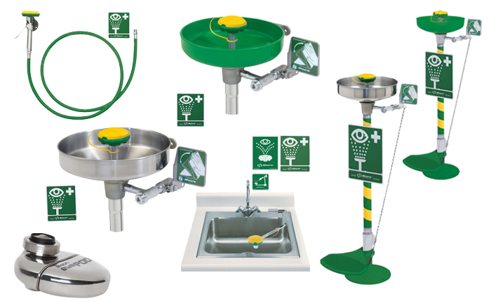 HAWS / AXION emergency eyewash and face wash stations. ABS plastic, stainless steel versions. Wall and sink mounted options and free standing eye and face wash units. PNR UK Ltd.