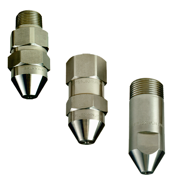 PNR BRB / BSB / BUB / BRF / BST / BTF narrow angle full cone injector nozzles. 15 degree & 30 degree spray angles.