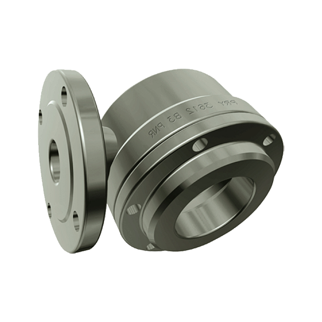 PNR PR series large flow, tangential, hollow cone spray nozzle with flange connection.