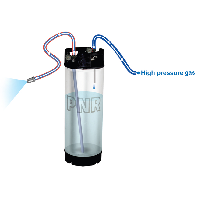 PNR pressure tank or pressure vessel. Part codes UMR-0090-B2 and UMR-0190-B2. Great for where there is no liquid pressure available on site. Work well with air-assisted atomisers.