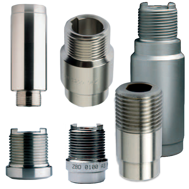 PNR ZBC / ZBD / ZBB welding nipples to hold spray nozzle descaling tips. For steel production applications.