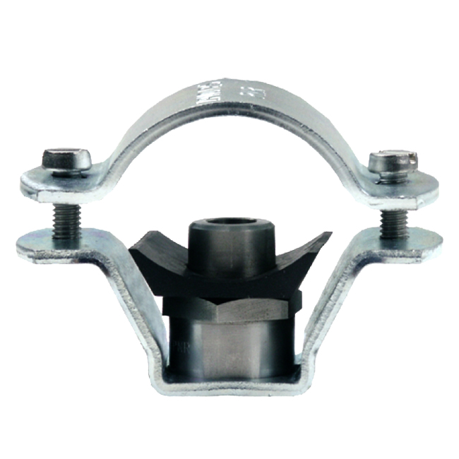 PNR ZPM type fixed nozzle pipe clamp. Metal clamp with female thread for fixing male threaded spray nozzles.