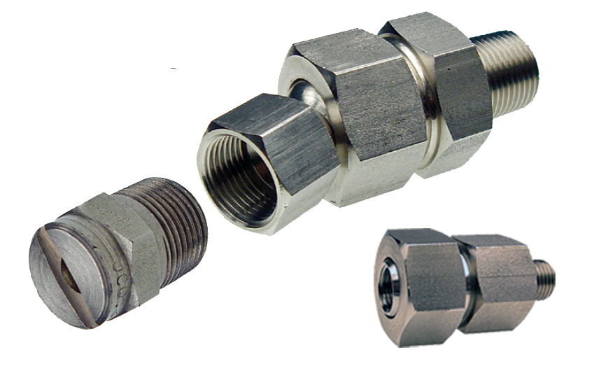 PNR ZRA style metal swivel joints for spray nozzles.