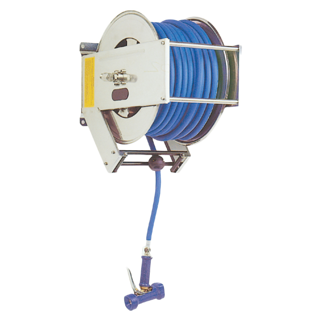 PNR UMU series hose reels in stainless steel. For pharmaceutical, food, chemical and cosmetic industries. Retractable and manual options available.