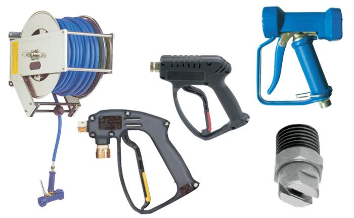 PNR nozzles, hose reels, wash guns, high pressure lances and 1/4 mef high pressure nozzles.