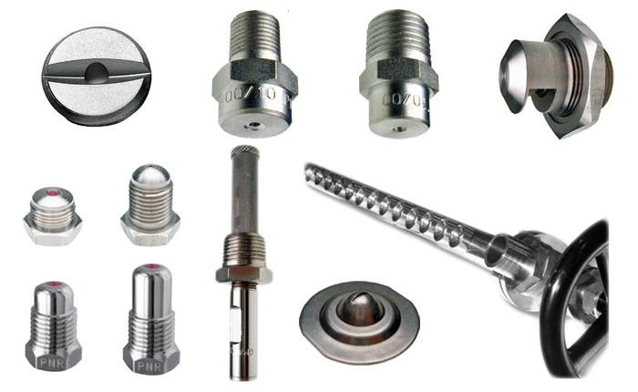 PNR Paper mill spray nozzles for paper production. Flat fan and pencil or straight jet nozzles in short body disc and coin designs.