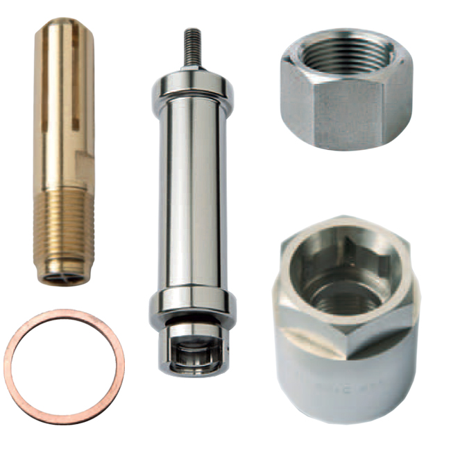 PNR steel work industrial nozzle accessories. Flow stabilizers, lock nuts, gasket.