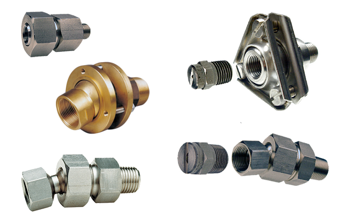ZRA, ZRB, ZRC threaded and weld-on swivel joints and flanged swivel joints designs for use with spray nozzles from PNR UK Ltd. In brass and stainless steel.