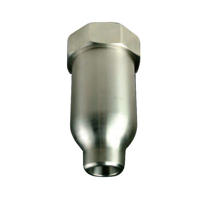 PNR BEU full cone spray nozzle with large capacity. Used in the steel industry for coke suppression and cooling.