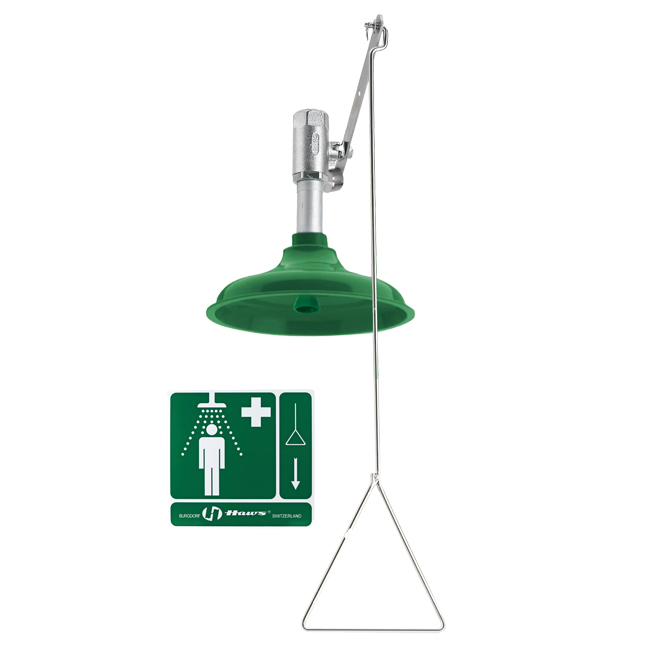8122V Axion / Haws vertical design emergency drench / safety shower with pull handle. Sold through PNR UK Ltd