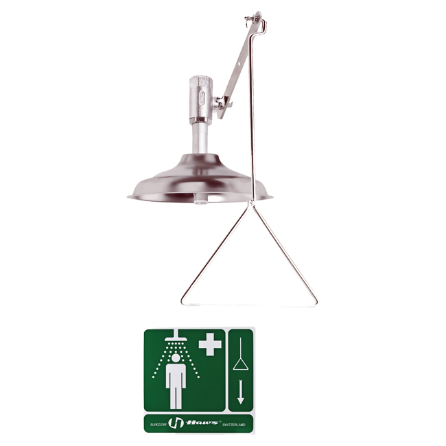 8133V Axion / Haws vertically mounted stainless steel safety drench shower with pull chain. From PNR UK Ltd