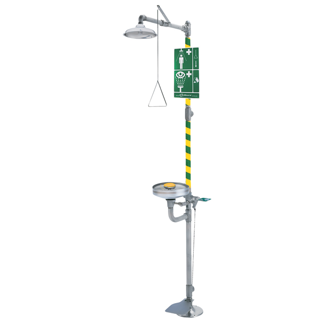 8330 Axion / HAWS combination safety shower and eye/face wash station. Emergency combination drench shower in stainless steel. PNR UK Ltd