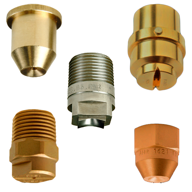 PNR continuous casting cooling nozzles. Full cones / Oval Jets / Tips. Steel Industry spray nozzles.