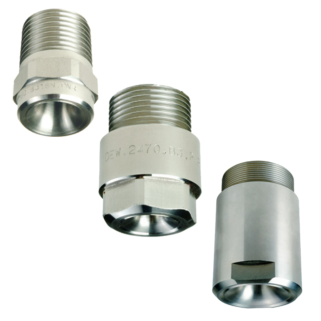 PNR D-series standard and large capacity full cone spray nozzles. 45 degree / 50 degree / 90 degree / 120 degree spray angles.