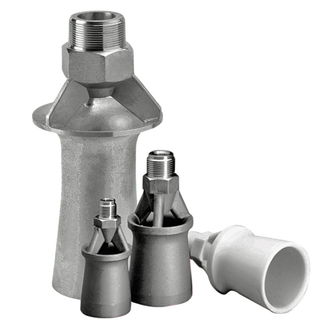 PNR eductor, injector nozzles for liquid agitation and mixing.
