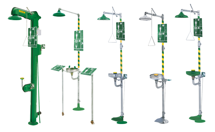 Axion & HAWS combination safety showers with body drench shower and ey/face wash attachment. PNR UK Ltd