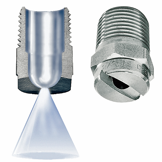 The PNR flat fan J series spray nozzle used in the cold rolling / pickling process of the steel industry.