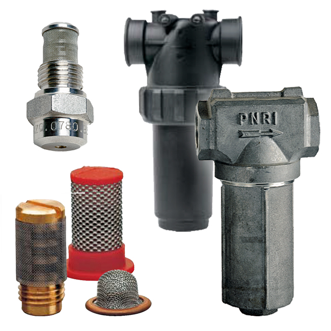 PNR in-line and nozzle mesh filters, threaded and flange fittings. VEH / VEM / VEC / VED type plastic and metal filters.