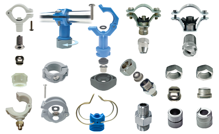 PNR pipe clamps, assembly fittings, weld-on nipples, threaded nipples and fittings.