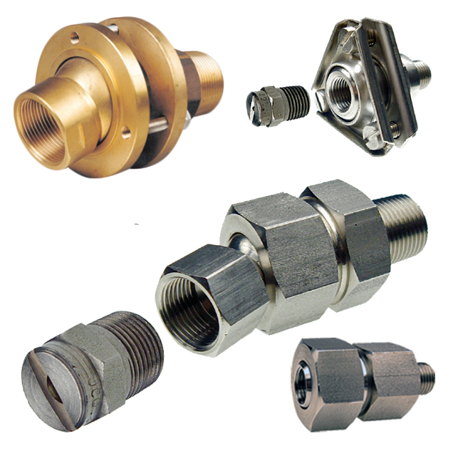 PNR swivel joints in brass and stainless steel. For directional and flexible spraying.