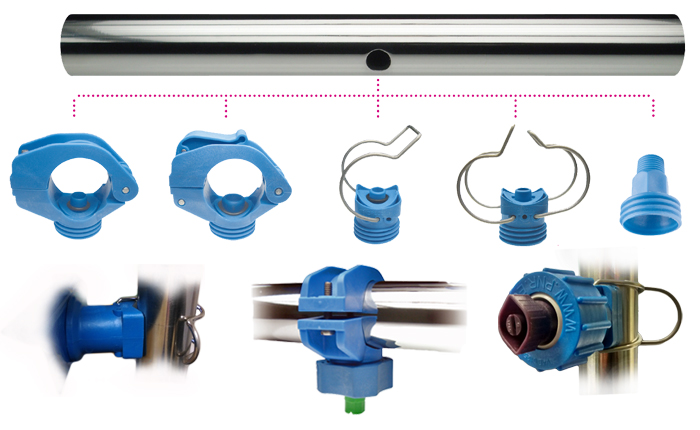 PNR pipe clamps / eyelets for swivel nozzles. Spring clip, single, double, fixed and quick release options for pre-treatment surface finishing. ZPN / ZPL / ZPQ / ZLF / ZPG.