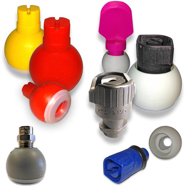 Swivel nozzles, quick release tips, flat fan nozzles, spoon jet nozzles, sphere adaptor for nozzles. Pre-treatment nozzles from PNR UK Ltd.