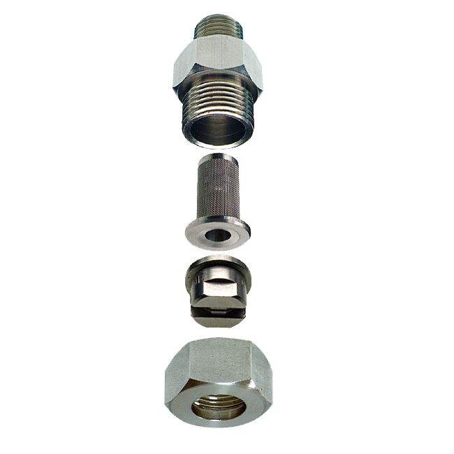 PNR GX spray nozzle tips are held by a nipple and retaining cap. Also available in a dovetail fitting.