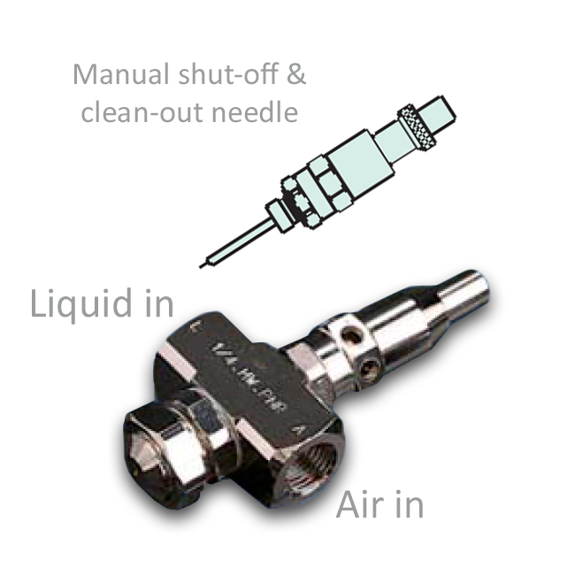 Basic body air assisted atomiser with clean-out and shut off valve from PNR.