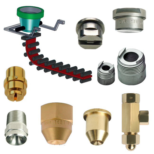PNR Continuous casting spray nozzles for steel works.
