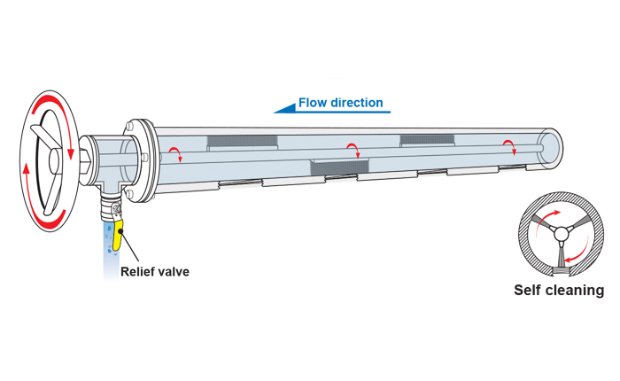PNR shower pipe showing self-cleaning system inside.