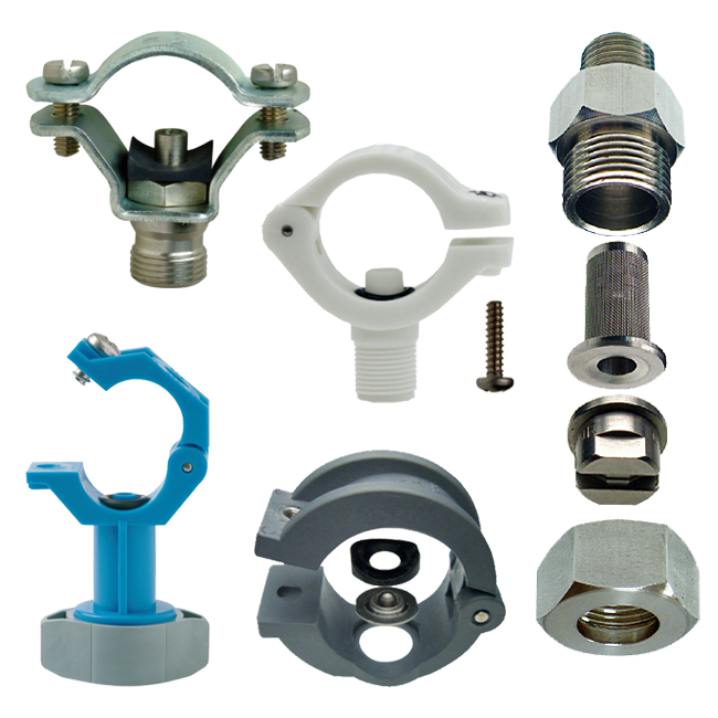 PNR pipe clamps, nipples for spray nozzle tips, retaining caps & fittings. ZPB / ZPM / ZPC / ZPH / VAA