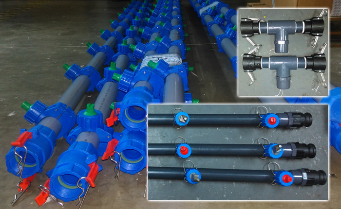 PNR pipe work with pretreatment nozzles and quick couplers