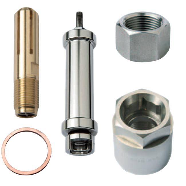PNR steel work industrial nozzle accessories. Flow stabilizers, lock nuts, gasket.