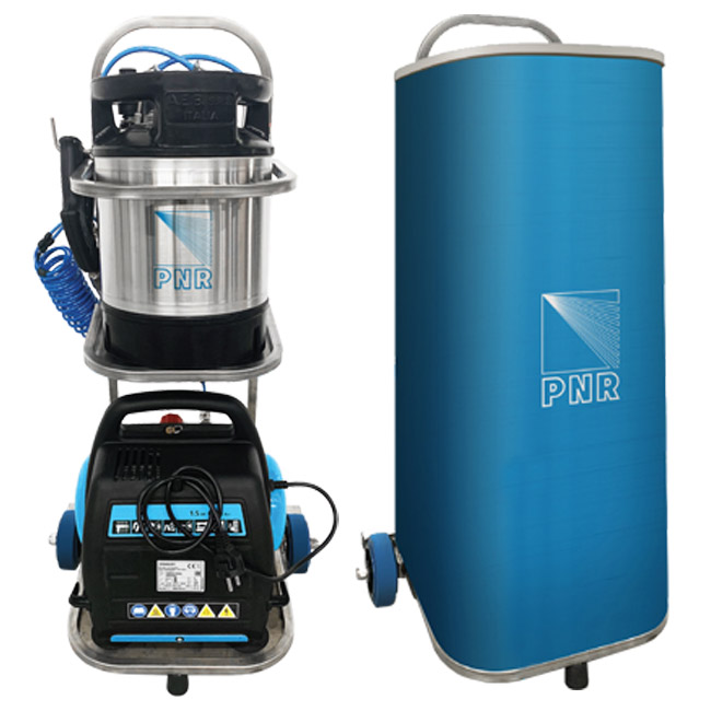 PNR's portable sani-move disinfection spray system with optional PNR branded protective cover.