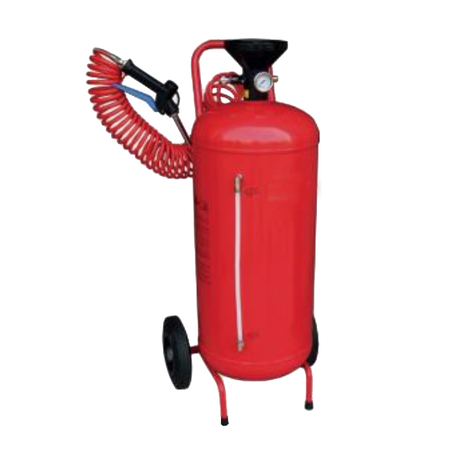 Pressure tank with spray gun, spray lance, fine mist spray nozzles and flexible pipe and pressure tank.